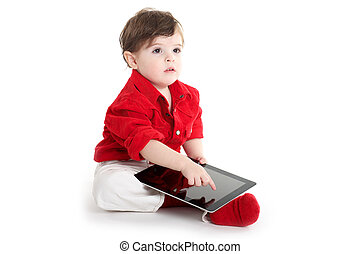 Toddler Baby showing with tablet
