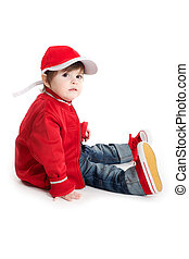 Toddler Baby sitting with car racing outfit