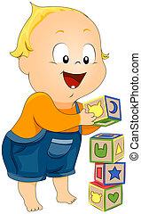 toddler, bouwstenen