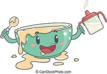 Toddler Bowl Mascot Messy Food Illustration