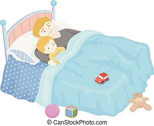 Toddler Boy Dad Sleep Illustration