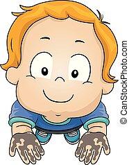Toddler Boy Dirty Hands Illustration
