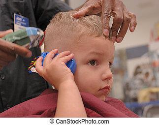 Toddler Boy Getting Haircut - A 3 year old boy talks on a ...
