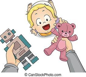 Toddler Boy Hand Hold Choose Toys Illustration - ...