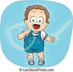 Toddler Boy Imaginary Shield Sword Illustration