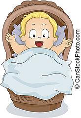 Toddler Boy in a Basket - Illustration of a Toddler Boy ...