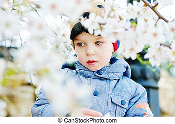 toddler boy in spring