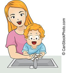 Illustration of a Kid Boy Toddler Washing Hands with His Mother