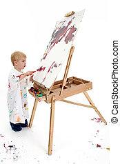 Toddler Boy Painting - Toddler boy in big white shirt...