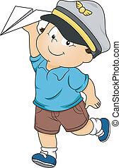 Toddler Boy Pilot - Illustration of a Happy Toddler Boy...