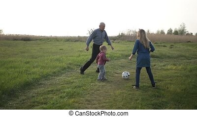 Toddler boy playing soccer with family outdoors