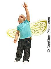 Toddler boy pointing up