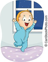 Illustration of a Kid Boy Wearing Pajama Onesies Jumping on Bed and Restless at Night
