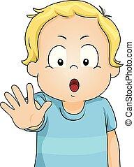 Toddler Boy Say Stop Five Illustration