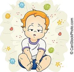 Toddler Boy Sick Virus Illustration