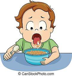 Toddler Boy Spit Food Back Illustration