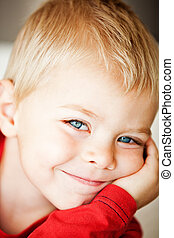 toddler boy - happy cute toddler boy with blue eyes and...