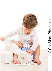 Toddler boy tear toilet paper - Toddler boy on potty tear...