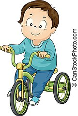 Toddler Boy Trike Illustration - Illustration of a Kid Boy...