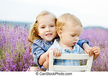 brother and sister in lavender field