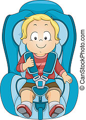 Toddler Car Seat - Illustration of a Toddler Strapped to a...