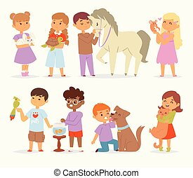 Toddler cartoon vector kids characters petting little pet in and cute kind child hold hug home pets animals lovely friends like horse pony, cat, dog, bird in the pets friendship illustration
