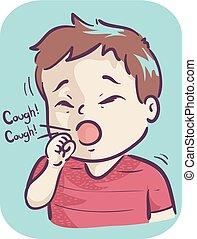 Toddler Coughing Illustration - Illustration of a Kid Boy...