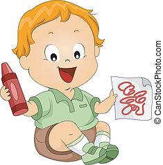 Toddler Doodles - Illustration of a Toddler Doodling Things...