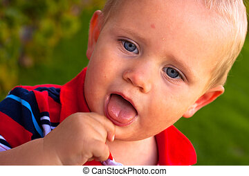 Toddler face with open mouth