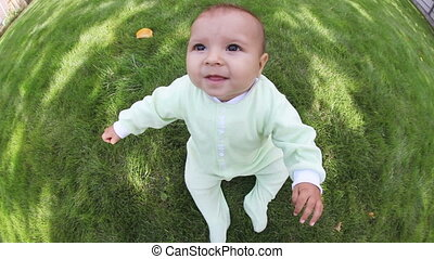 Toddler - Adorable sitting toddler on lawn of garden, fish...