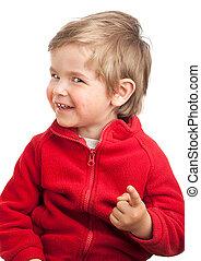 toddler, fototoestel, wijzende, jongen, blonde