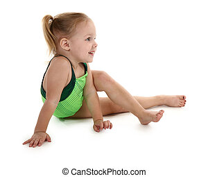 Beautiful 2 year old girl in green leotard. Clipping path included.