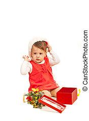 Toddler girl with Christmas gift