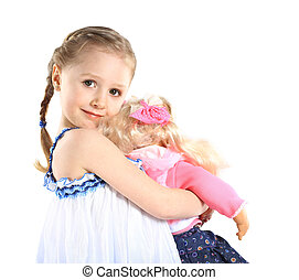toddler girl with doll