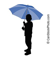toddler holding umbrella silhouette