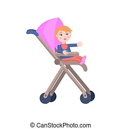 Toddler in Baby Carriage. Mother Day Illustration