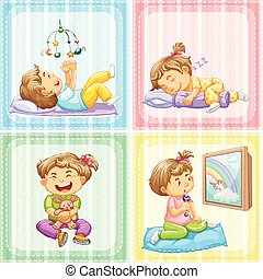Toddler in four different actions