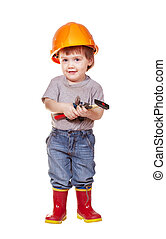 Toddler in hardhat with tools. Isolated over white ...