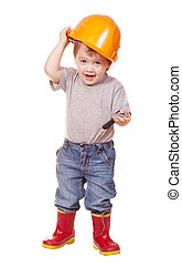 Toddler in hardhat with wrench. Isolated over white