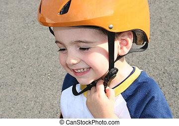 Toddler in Helmet