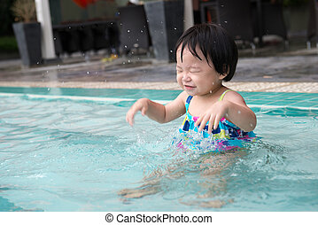 Toddler in the pool
