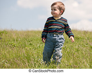 Toddler in the summer meadow