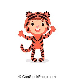 Toddler kid in colorful tiger costume. Child in outfit for photo shoot or Halloween party. Cartoon boy or girl wearing animal jumpsuit. Flat vector design