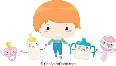 Toddler Kid Mascot Friends Illustration