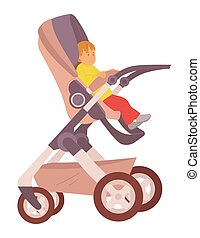 Toddler sitting in buggy vector, isolated child son in perambulator, flat style baby summertime fresh air, pram with calm kiddo outdoor walking stroll