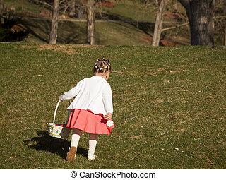 toddler, ligado, páscoa ovo caça