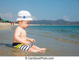 toddler, ligado, um, praia