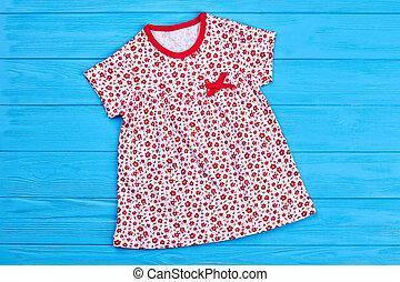 toddler, menina, cute, algodão, dress.