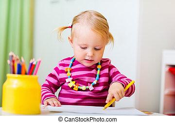 toddler, menina, desenho