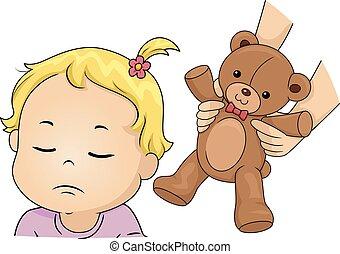toddler, menina, refugo, urso, brinquedo, ilustração